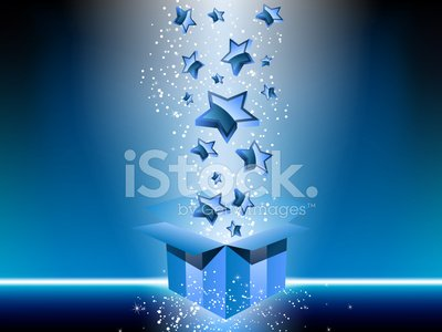Blue gift box with stars