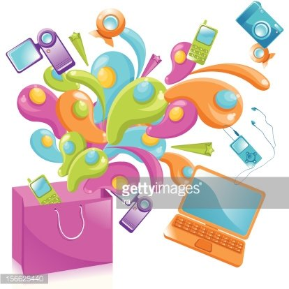 Multimedia equipment on sale shopping background
