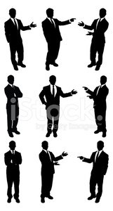 Businessmen standing and presenting