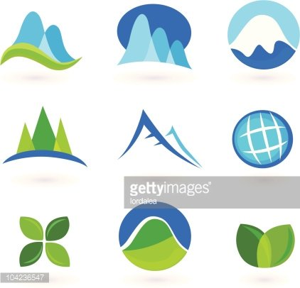 Blue and green nature icons