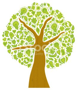 Tree made from green nature and energy symbols
