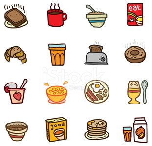 Hand drawn breakfast icons