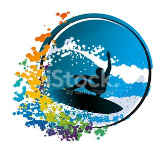 Surfer Graphic on an Abstract Circular Background