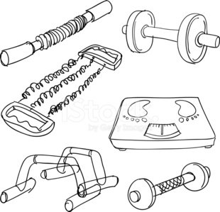 Exercising equipment collection in Black and White