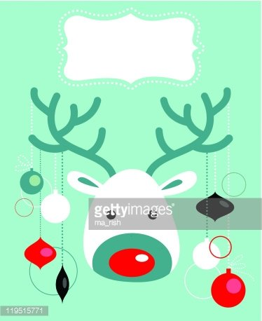Rudolph Christmas Decorations.Rudolph With Christmas Decorations Premium Clipart