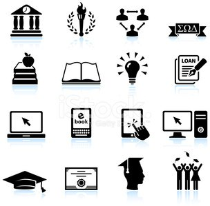 Modern College And Higher Education Black White Icon Set