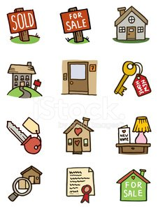 Real estate and home doodle icons