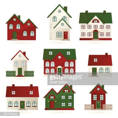 Houses In Different Architectural Styles Premium Clipart