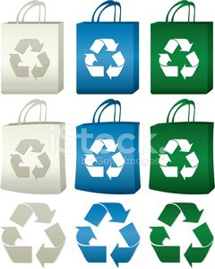 Recycling Shopping Bags and Icon Symbols Set: Green, Blue, Natur