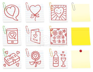 Love related post it note icon set