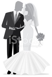 Sassy Bride and Groom Silhouette Just Married