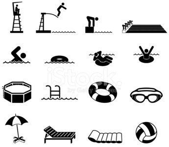 Swimming Pool Black And White Royalty Free Vector Icon Set