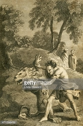 Samson and the lion (c1830 gravure)