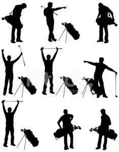 Golfer or golf caddie with bag and clubs