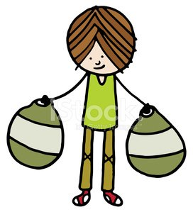 Boy carrying two shopping bags