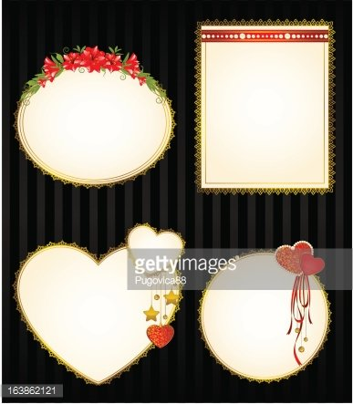 Set of beautiful backgrounds with hearts and flowers. Vector