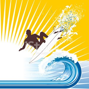 Surfer Waves and Sun - Vector Illustration