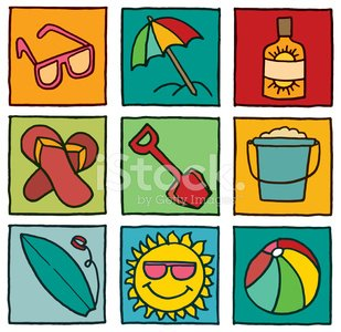 Holiday and summer block icon set