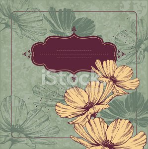 Vintage frame with flowering Cameos