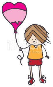 Boy with heart shaped balloon