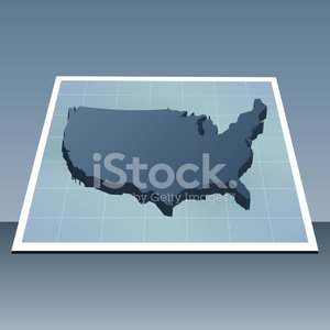 USA map perspective 3d