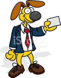 Working Dog with Business Card