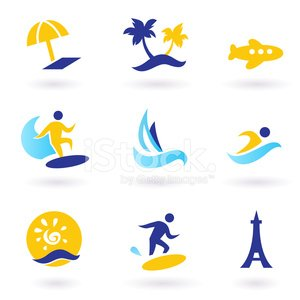 Retro summer, travel and water sports icons - blue, yellow
