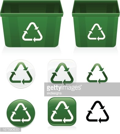 Plastics Recycling Symbol Icons Recycle Bins Set Green White