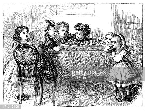 Group of victorian children playing on table from 1867 magazine