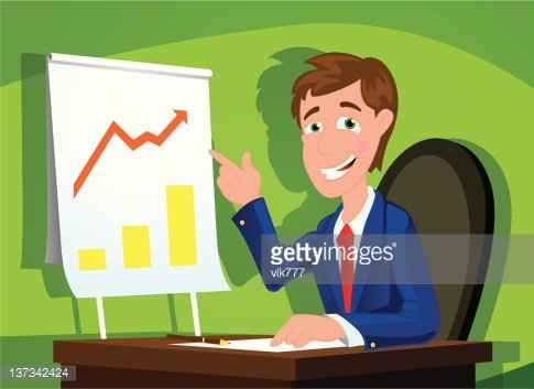 businessman showing succes in office room