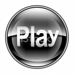Play icon black, isolated on white background