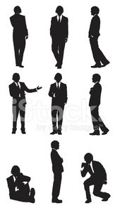 Multiple images of a businessman gesturing