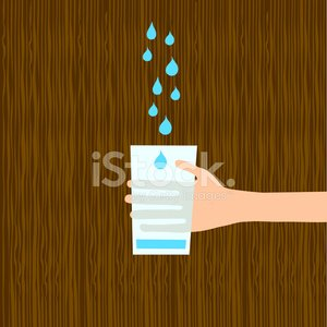 Water wood hand holding glass illustration