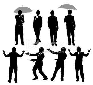 Silhouette of a businessman in different activities