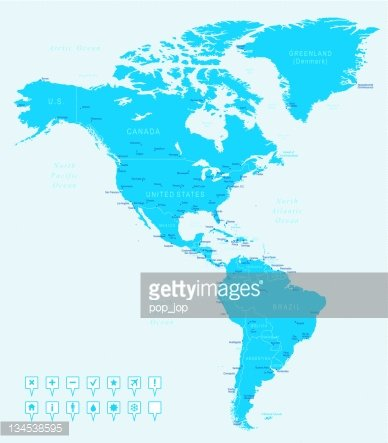 North and South America - map with navigation icons