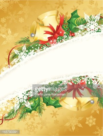 gold holly and bells christmas background vertical premium clipart