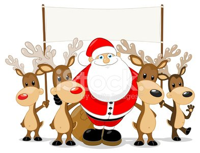 Santa and his Reindeer holding a blank sign