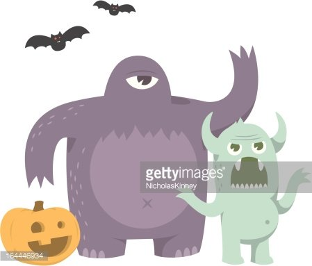 cute scary halloween monsters with pumpkin and bat vector