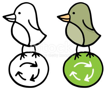 Bird and recycling symbol