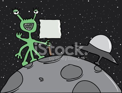 Alien Cartoon Character Holding Blank Sign