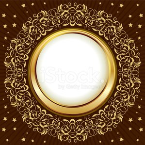 Gold vintage circle frame with ornamental border