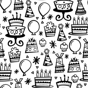 Doodle Line Retro Birthday Party Seamless Pattern Background