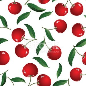 Vector fruit icon. Seamless cherry background.