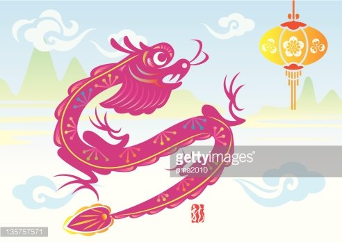 dragon new year illustration with background