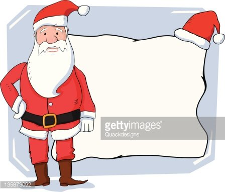 happy santa claus standing with a blank sign board premium clipart