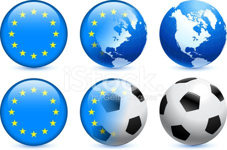 European Union Flag Button with Soccer Ball and Globe