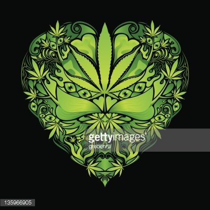 Psychedelic cannabis heart vector sign