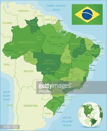 Green Map of Brazil States, Cities and Flag premium clipart ...