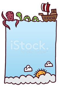 Sea background design with octopus