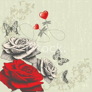 Vintage background with roses, butterflies, dragonflies and red